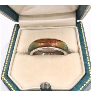 Vintage Glitter Lucite Funky Mood Band Ring